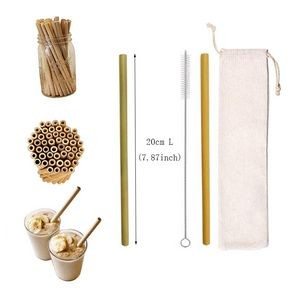 Reusable Bamboo Drinking Straw w/Cotton Pouch