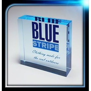 "Corporate Series Blue Acrylic Square Paperweight (2 1/2""x2 1/2""x3/4"")"