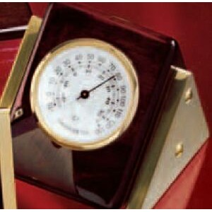 Piano Finish Rosewood Clock/ Thermometer