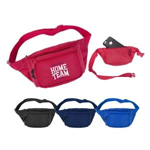 600D Poly Three Pocket Fanny Pack with Adjustable Waist Belt